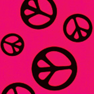 Print Fabric Hot Pink Peace Out
