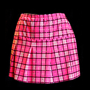Style #S023 - Pleated Skirt in Pink Metallic School Plaid Fabric